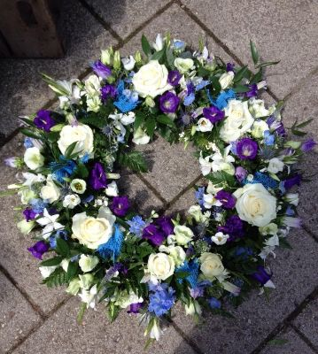 Purple, White and Blue Wreath