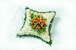 White Based Cushion With  A Orange Cluster
